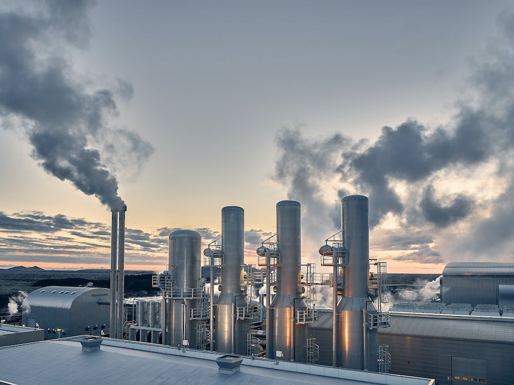 Skyline of a modern industrial plant powered by green energy.