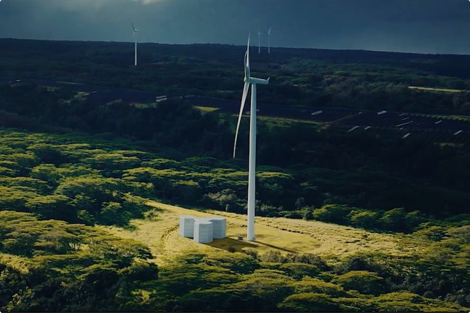 Green batteries used in conjunction with wind power.
