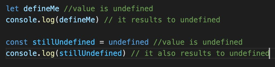 example of undefined data type in JavaScript