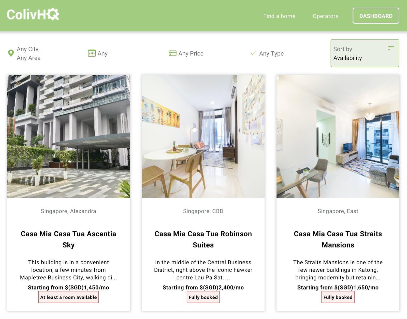 Homes listed on ColivHQ.com