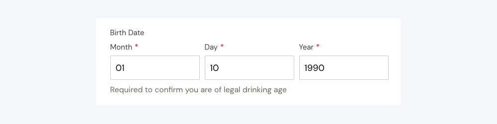 Help text displayed for birth date field
