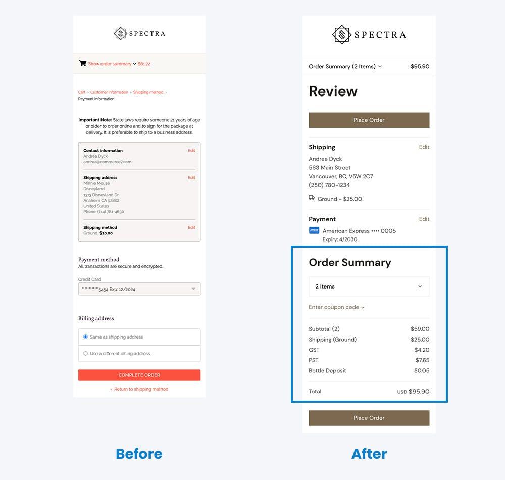 Comparison of order review in v1 vs v2