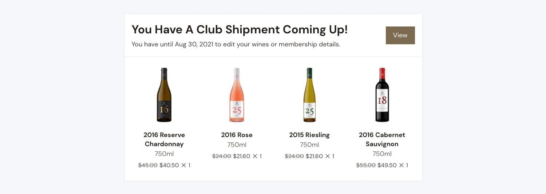 Club shipment notification