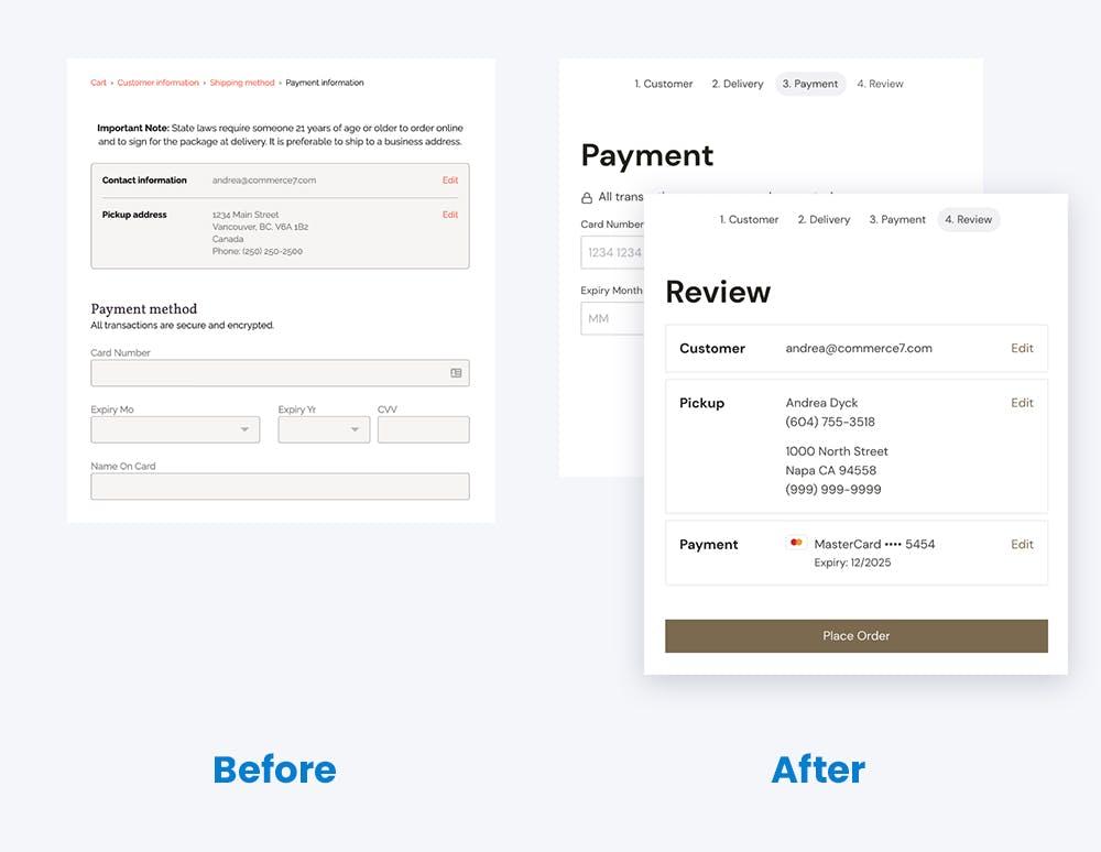 Comparison of last checkout step in v1 vs v2
