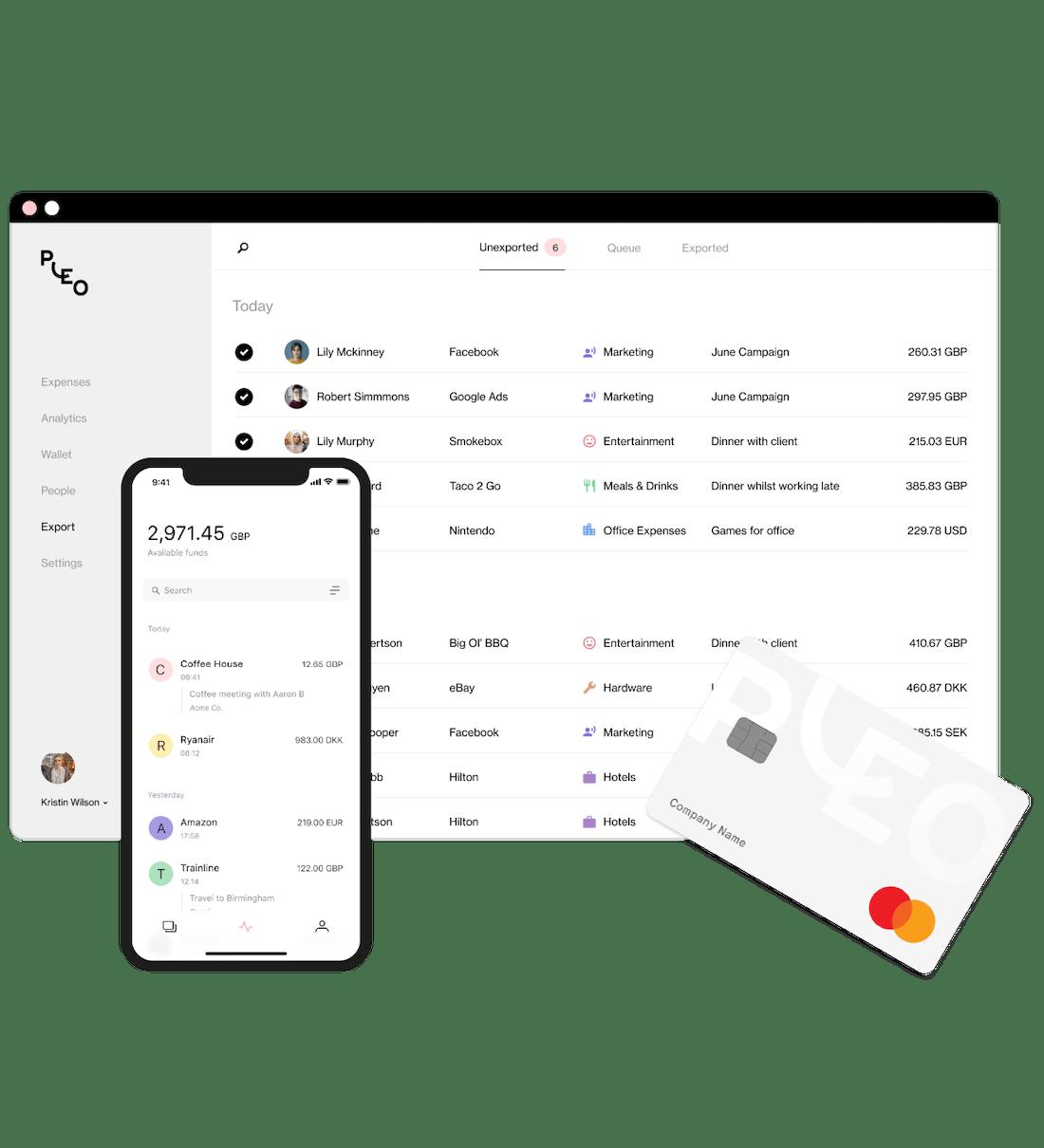 Pleo interface på desktop och mobil