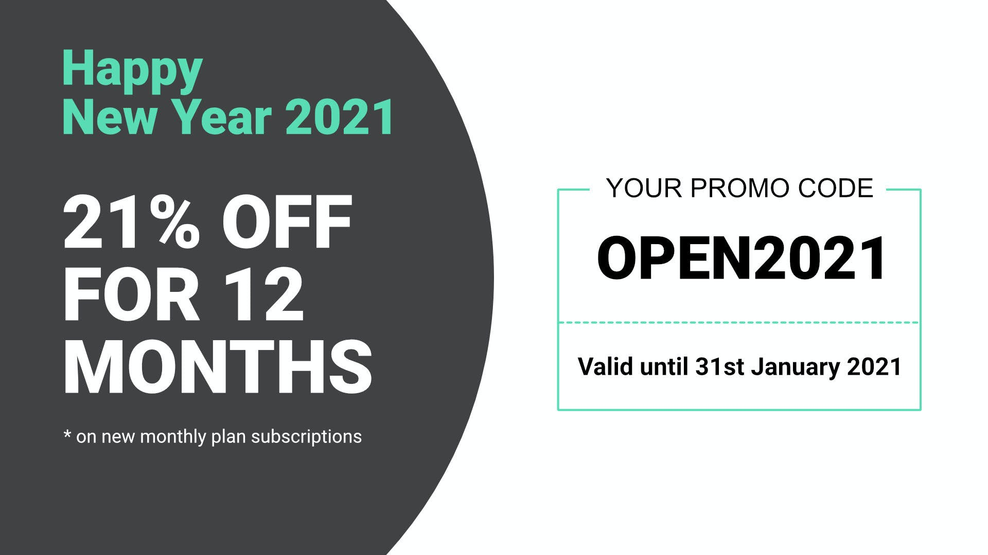 Happy New Year 2021 - 21% off for 12 months