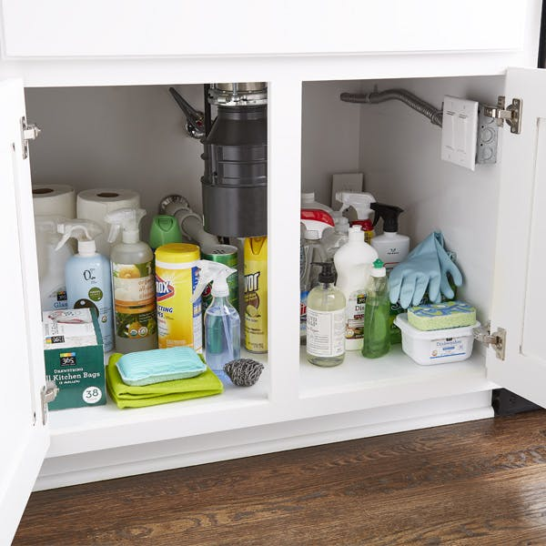 How To Organize Your Under Sink Storage Step By Step Project The Container Store