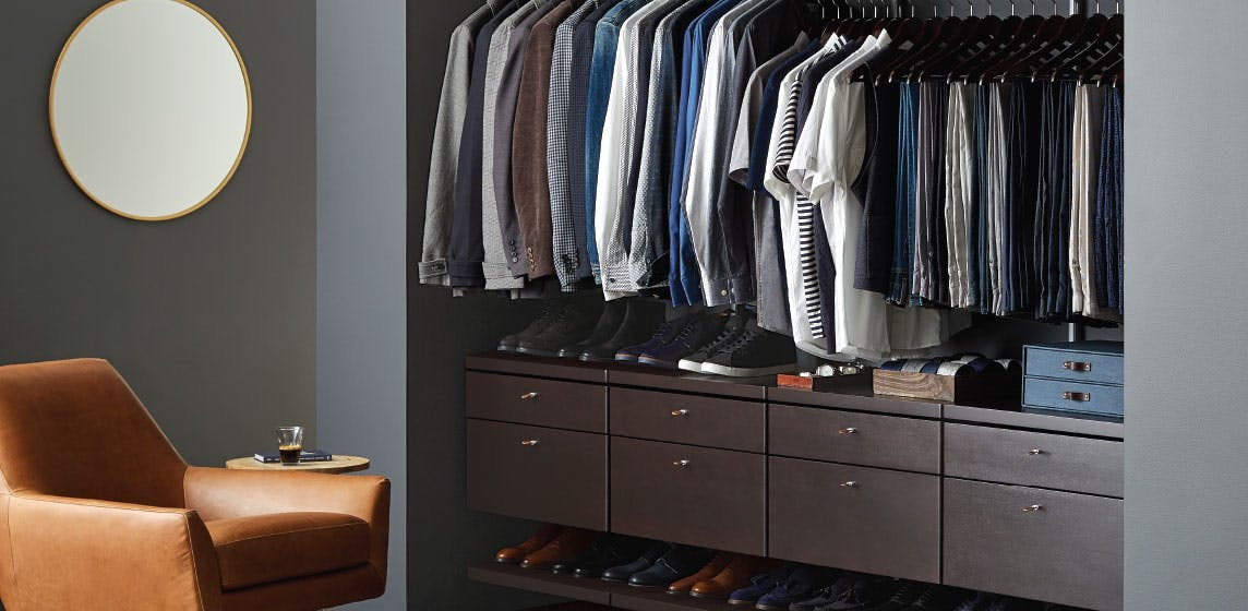Walnut elfa décor Mens Reach-In Closet