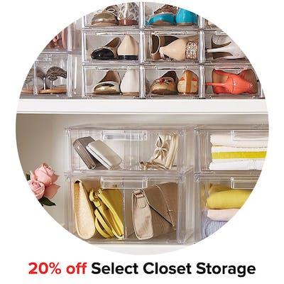 20% off Select Closet Storage