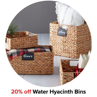 20% off Water Hyacinth Bins