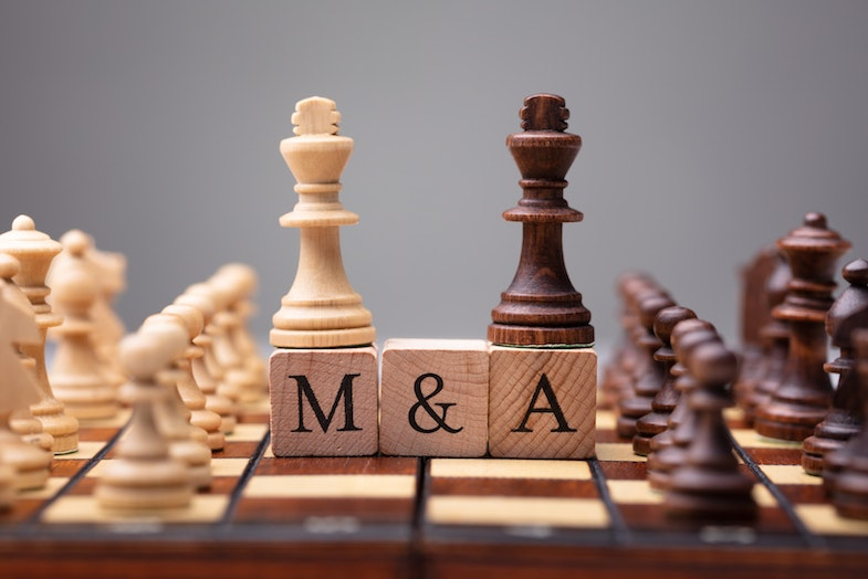 Chess board with strategies for M&A