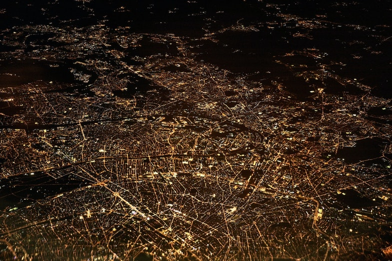 geographic data from above view of city at night