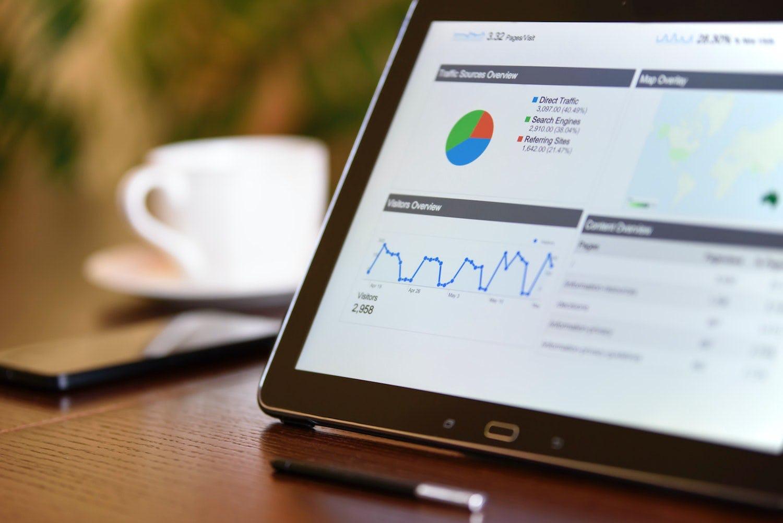 Laptop screen displaying data analysis