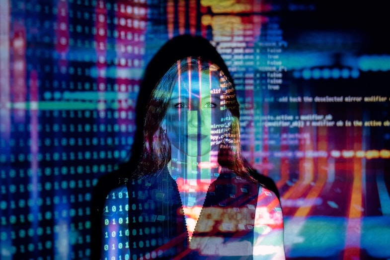 Person with data and technology, artificial intelligence hedge funds