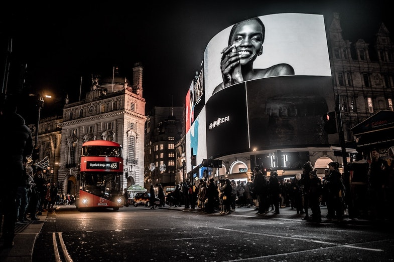Outdoor marketing light up screen with ads
