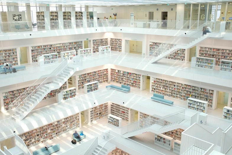 library filled with data and information