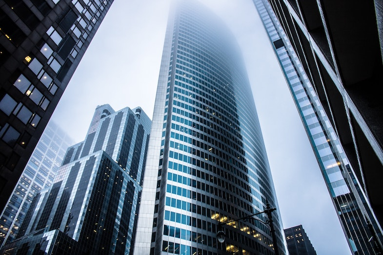 financial buildings with investors