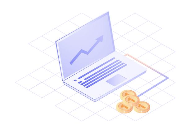 Laptop indicating company funding data