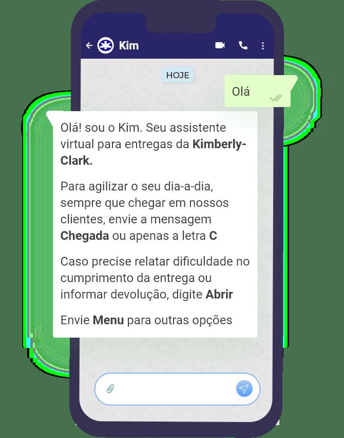 Mockup chatbot da Kimberly-Clark
