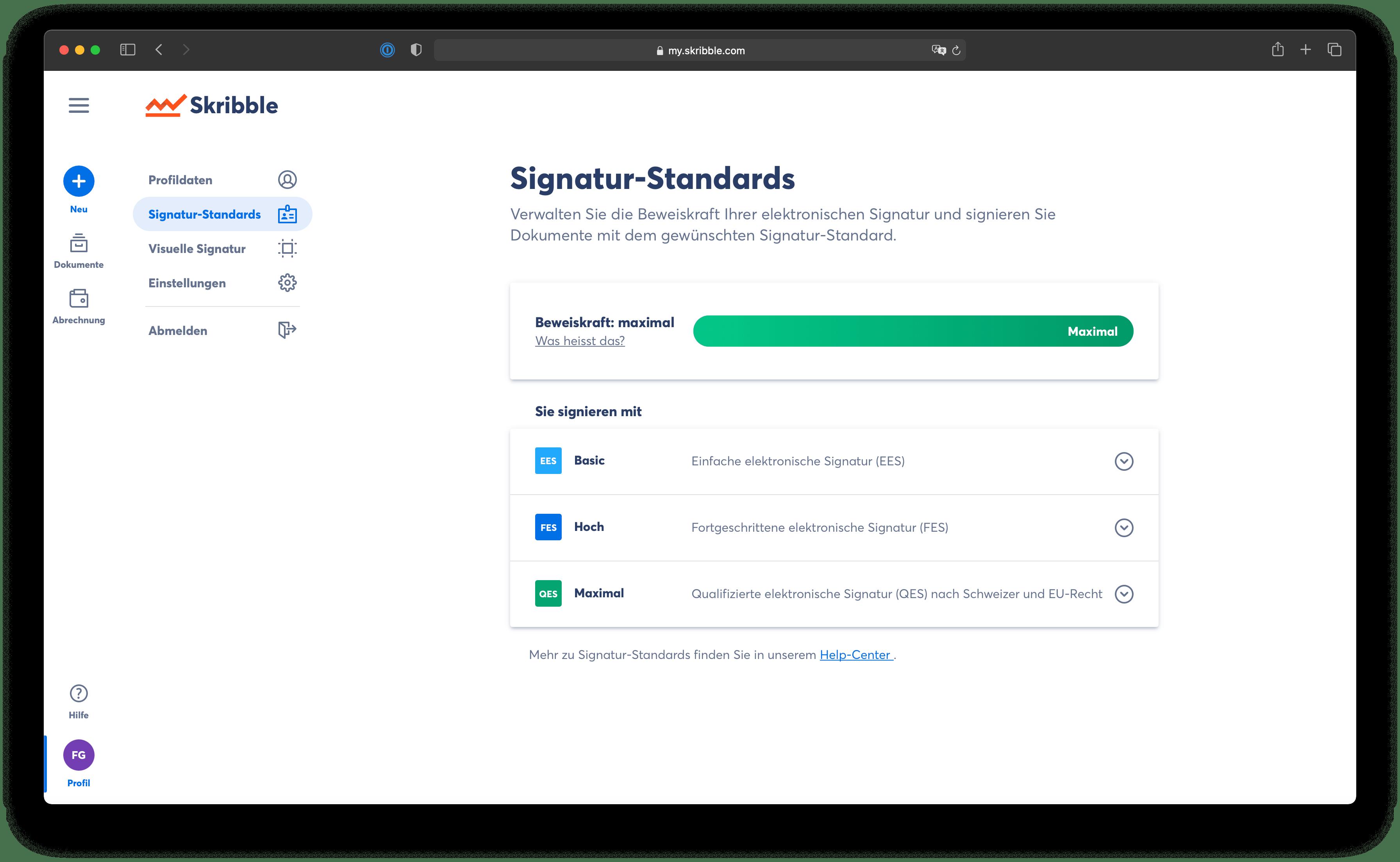 Das persönliche Zertifikat einer QES bestätigt die Verbindung der elektronischen Signatur mit einer natürlichen Person und generiert so die maximale Sicherheit und Beweiskraft (Quelle: Skribble).