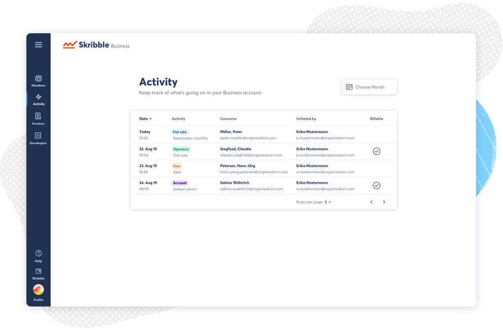 Skribble Business account - user interface