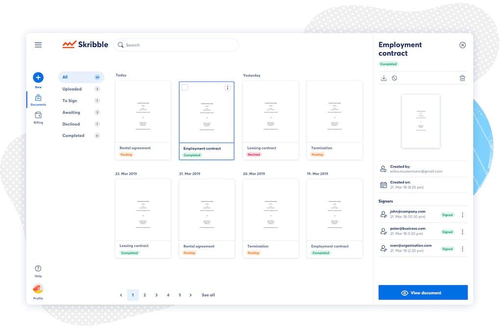 Skribble plattform - user interface