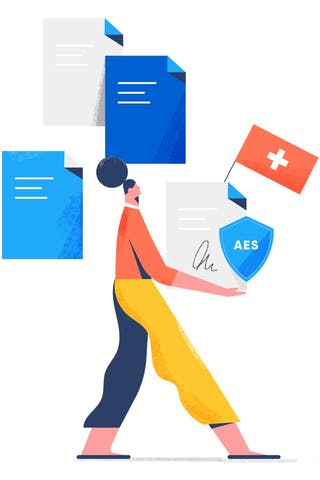 A woman is holding an AES contract in her hand under Swiss law.
