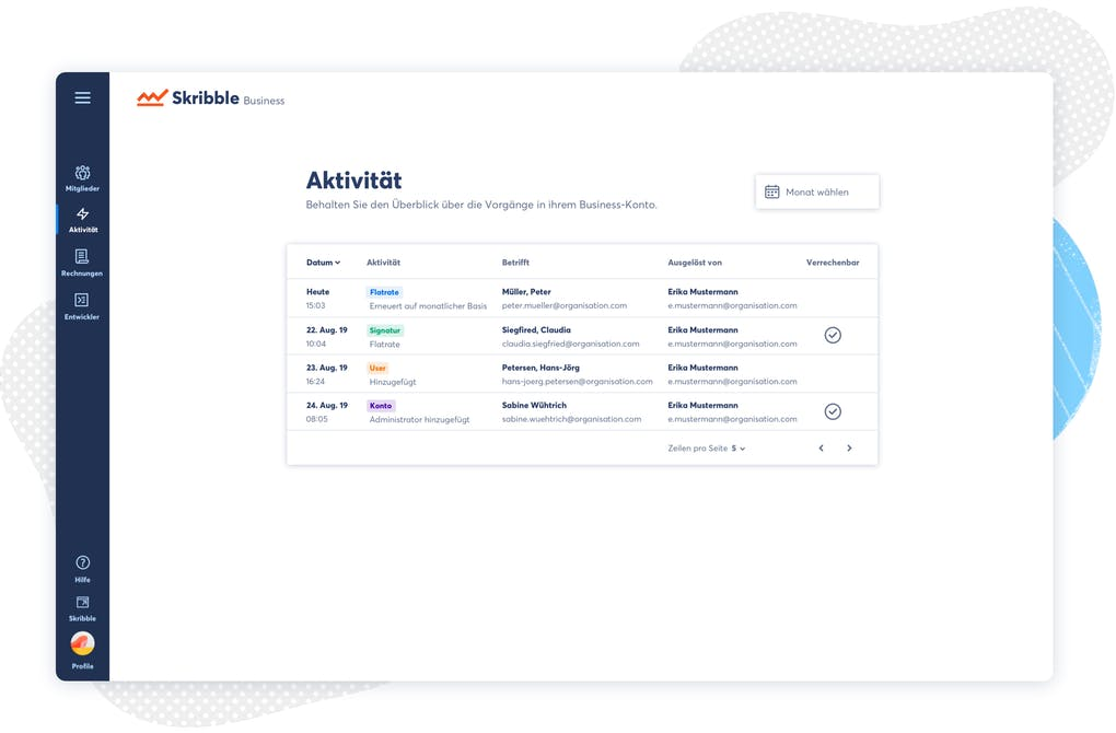 Skribble Business-Account - Benutzeroberfläche.