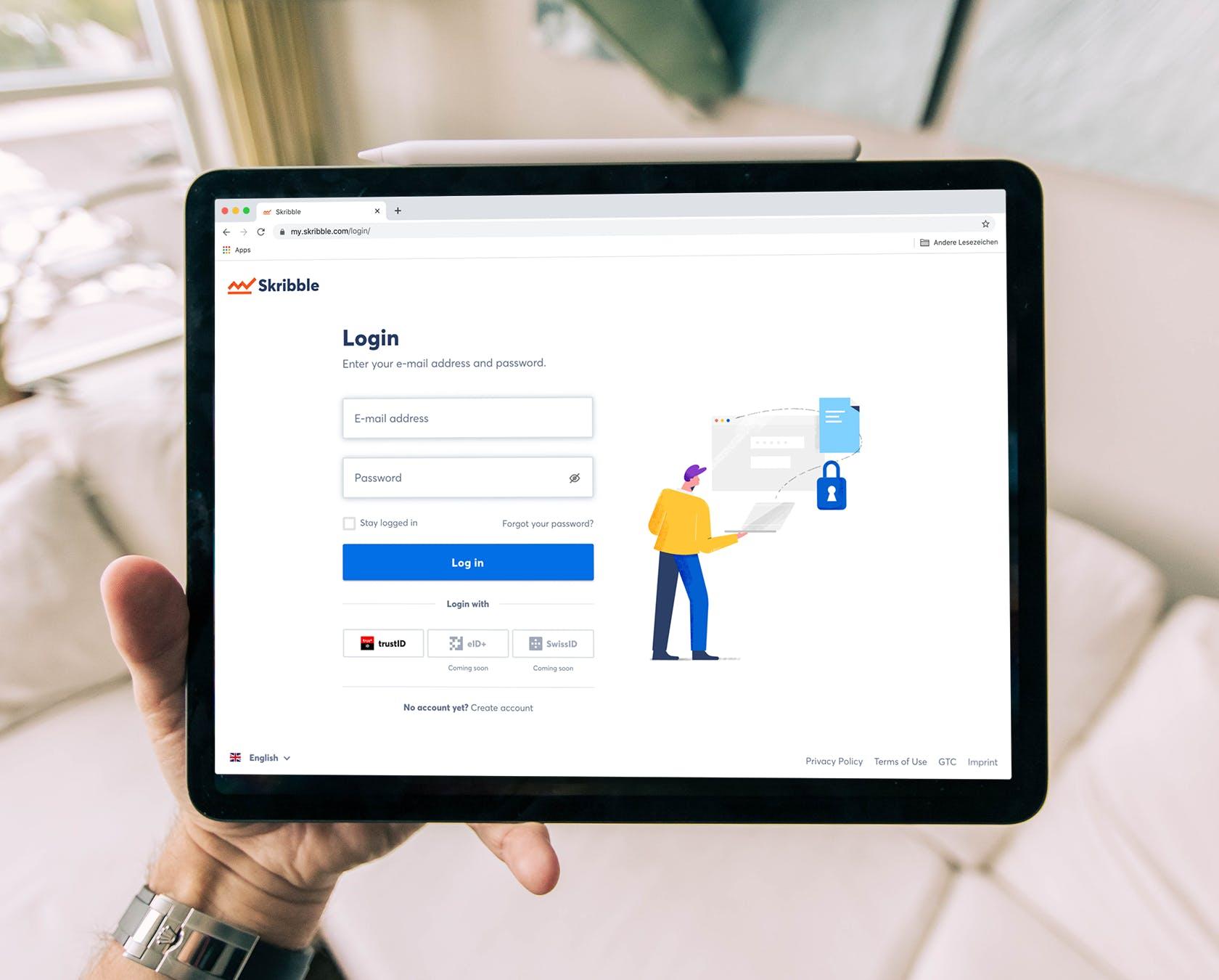trustID-Besitzer können sich bei Skribble anmelden, ohne einen zusätzlichen Registrationsprozess durchlaufen zu müssen. (Quelle: Skribble, © Unsplash)