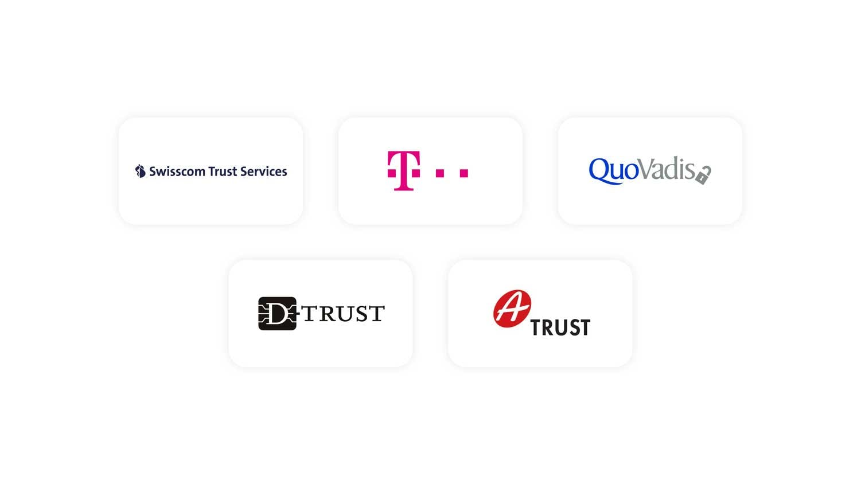 Bekannte qualifizierte Vertrauensdiensteanbieter aus Deutschland, Österreich und der Schweiz (Quelle: Skribble)