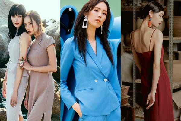 4 female models in a collage, 2 in the left, wearing grey dresses. One in the middle hair with frizzy hair in blue blazer. And the last one in the right, showing off her shoulder blades.