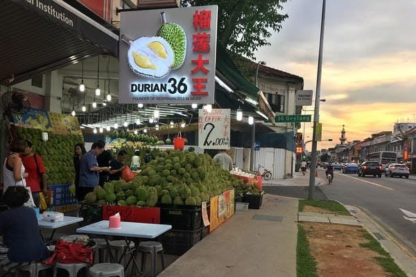 durian stall along Geylang road