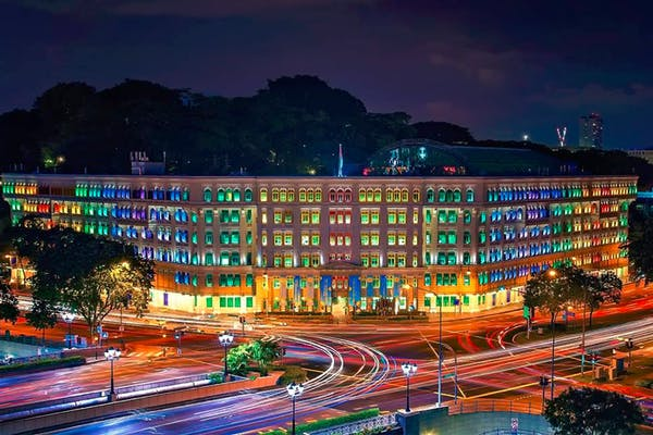 colourful old police station at night