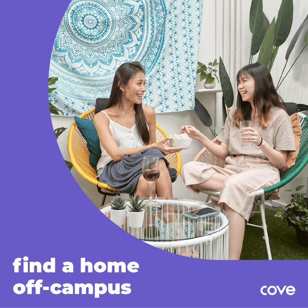 two undergraduates enjoying their off-campus housing