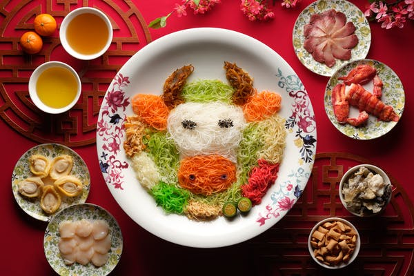 yu sheng decorated nicely imitating an ox