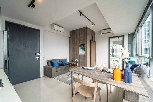 a fully equipped one-bedroom unit at Lumiere, facing Sentosa
