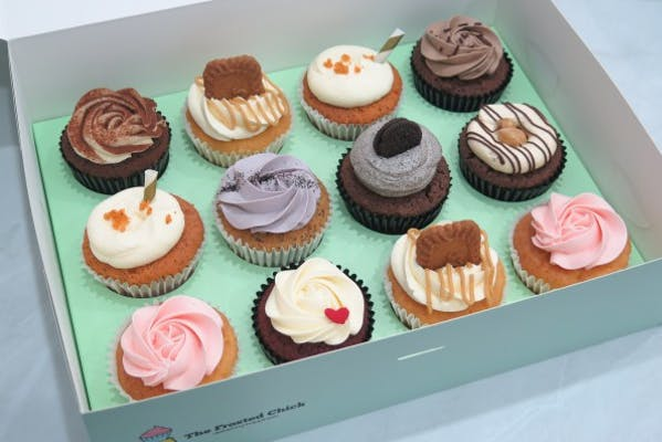 12 cupcakes in a box, includes oreo, red velvet, biscoff