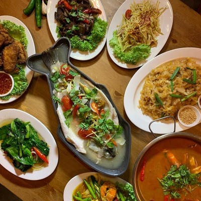 a spread of traditional thai dishes such as tom yum, steamed sea bass, pad thai, mango salad and many more