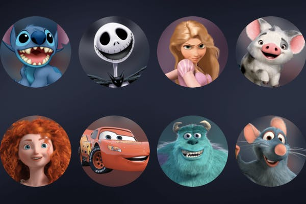 Disney characters such as Olaf, Stitch, Rapunzel, Dory, Merida, Lightning McQueen, Remy, Wall-E