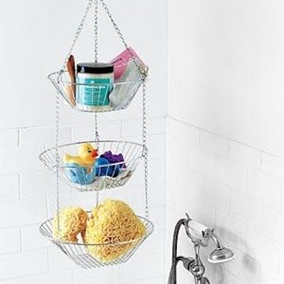 fruit basket used to hang toileteries in the common bathroom