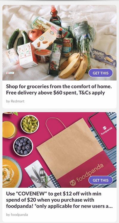 screenshot of partners perks from foodpanda, redmart