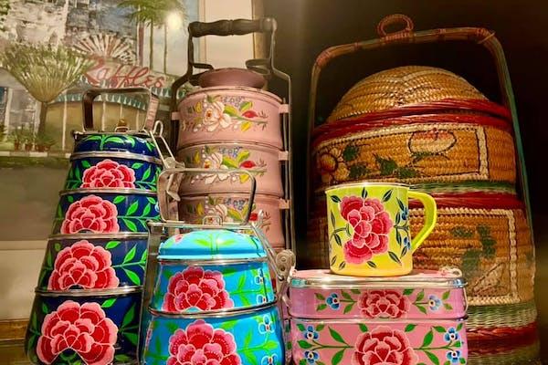 Peranakan tingkat with ceramic mug