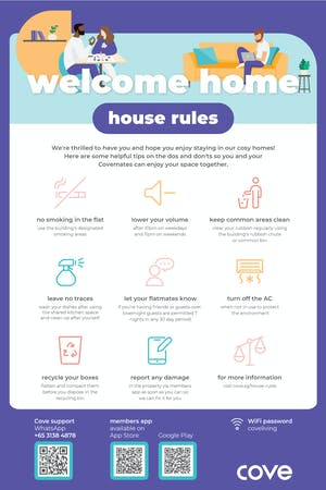 Cove house rules poster