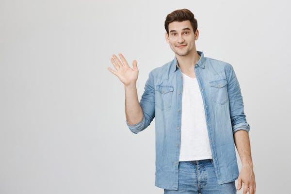 man waving hello