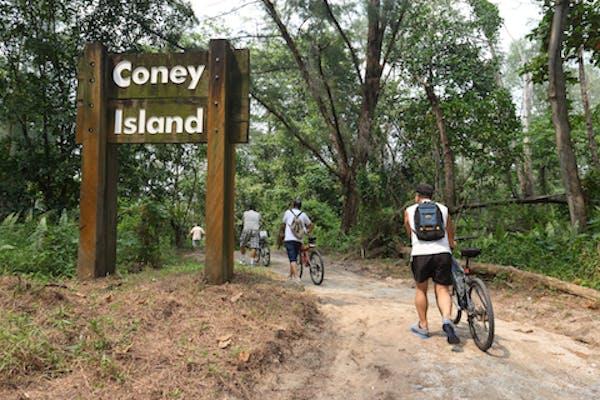 Cyclist entering Coney Island