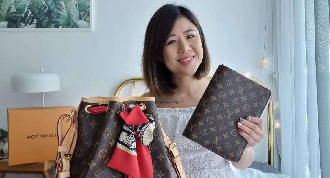Mun Yee in her room, sharing her LV handbag collection