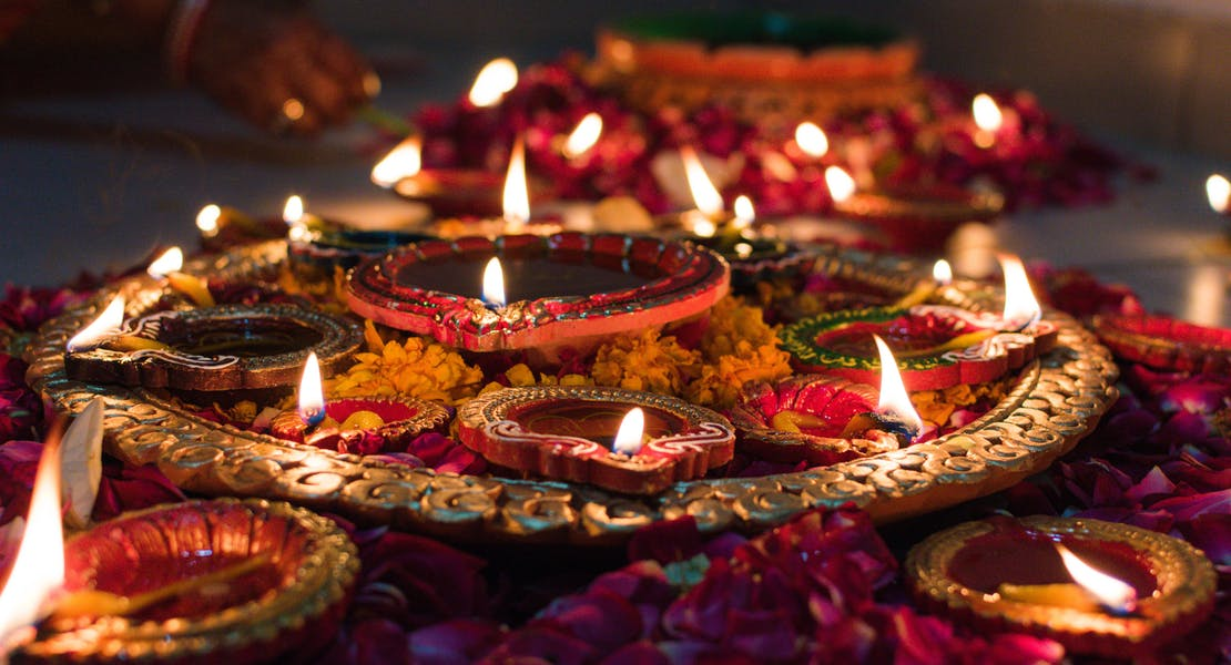 deepavali and diwali candles lit up