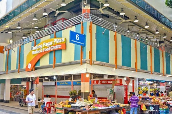 tanjong pagar plaza hawker centre decked in yellow and blue