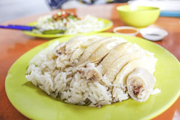 typical steamed chicken rice on a green plate