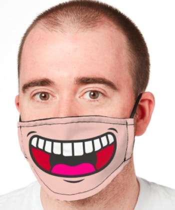 man with smiling mask